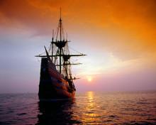 Mayflower II Replica At Sunset...