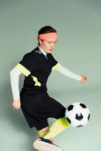 Teenage Girl Soccer Player With Soccer Ball