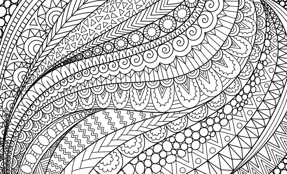 Fototapeta Line art of abstract movement for background, adult coloring book,coloring page and other design element. Vector illustration