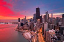 Chicago Red Sunrise Aerial Vie...