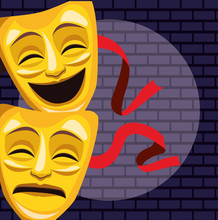 Theatrical Masks Light Wall Brick Stand Up Comedy Show