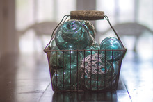 Turquoise Glass Vintage Old Ba...