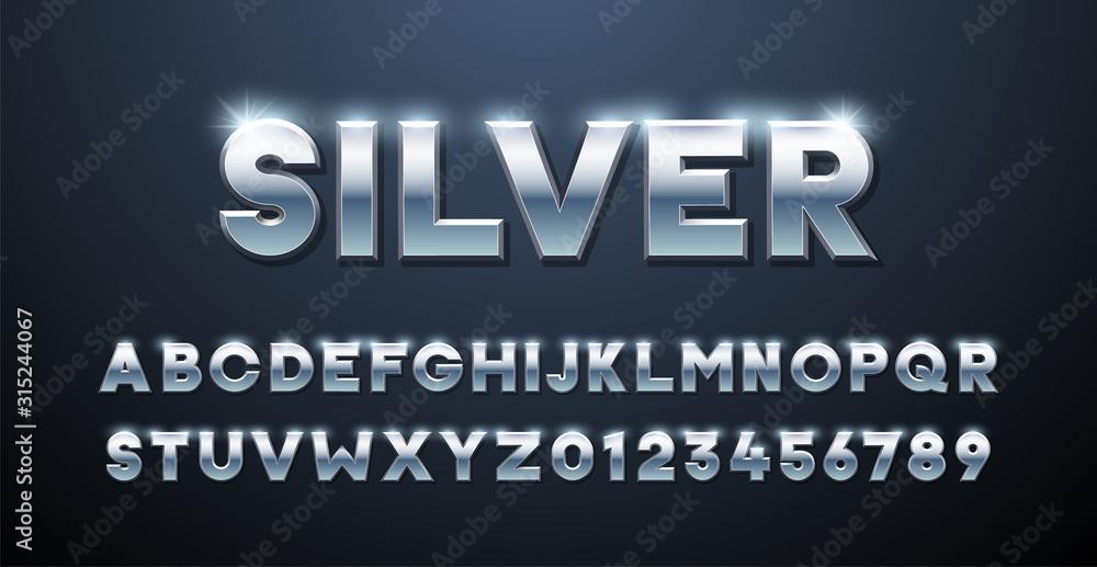 Fototapeta Silver Alphabet. Metallic font 3d effect typographic elements. Mettalic stainless steel three dimensional typeface effect