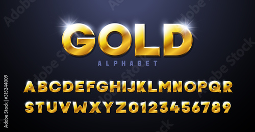 Obraz Gold Alphabet. Golden font 3d effect typography elements based on casinos, games, award and winning related subjects. Mettalic luxury and premium three dimensional typeface - fototapety do salonu