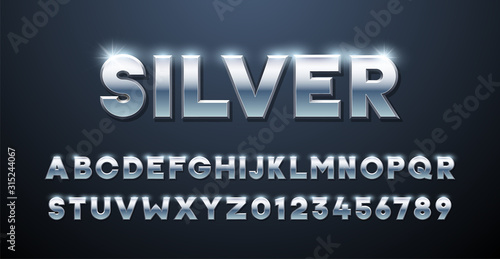 Fototapeta Silver Alphabet. Metallic font 3d effect typographic elements. Mettalic stainless steel three dimensional typeface effect obraz