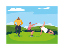 Men Outdoors Exercising With B...