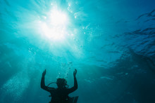 Woman Scuba Diving Underwater,...