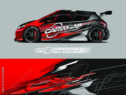 Car wrap design vector. Graphic abstract stripe racing background designs for wrap cargo van, race car, pickup truck, adventure vehicle. Eps 10 Fotobehang