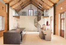 Home Showcase Interior Dining Room With Wood Vaulted Ceiling And Spiral Staircase Loft