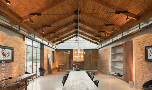 Home showcase interior with vaulted wood ceiling - 315247057