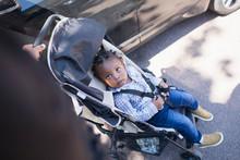 Cute Toddler Boy In Stroller On Sidewalk