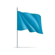 Blue Rectangular Flag On Flagp...
