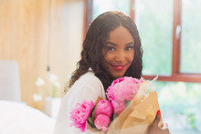 Portrait Beautiful Young Woman With Bouquet Of Pink Peony Flowers