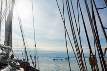 Sailboat Rigging On Sunny Atlantic Ocean Greenland