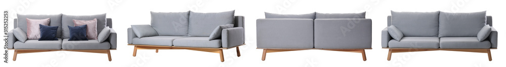 Fototapeta Collage with comfortable sofa on white background