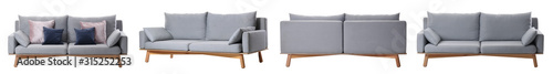 Collage with comfortable sofa on white background - 315252253