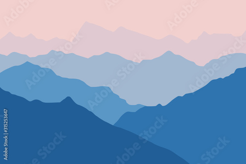Fototapeta Fantasy on the dawn in the mountains, vector illustration obraz na płótnie