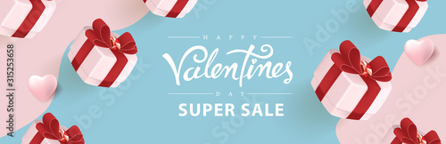 Obraz Valentines day sale background with gift. Vector illustration.banners.Wallpaper.flyers, invitation, posters, brochure, voucher discount. - fototapety do salonu