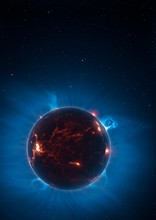 Artwork Of Volcanic World Eclipsing Star