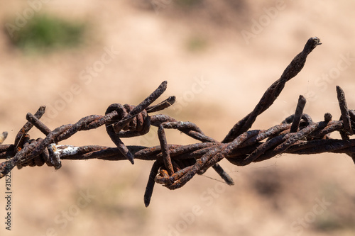 Obraz na plátne  Old barbed wire that has been used to rust