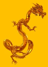 Dragon On Yellow Background, Illustration