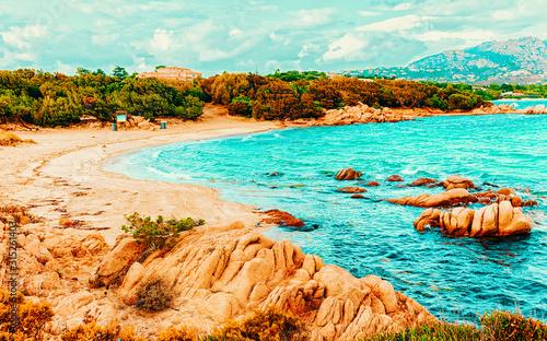 Landscape with Romantic morning at Capriccioli Beach in Costa Smeralda of the Mediterranean sea on Sardinia island in Italy Canvas Print