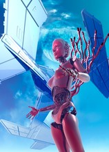 Robotic Woman And Spacecraft