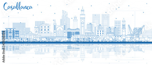 Outline Casablanca Morocco City Skyline with Blue Buildings and Reflections.