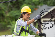 Hispanic Female Cable Lineman