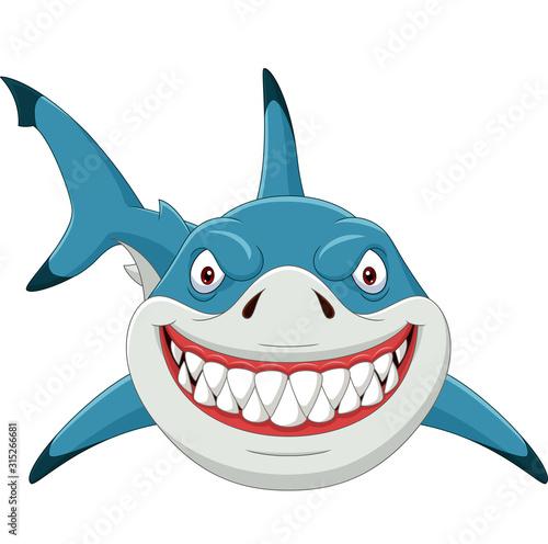Obraz na plátně Cartoon angry shark isolated on white background