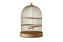Vintage Style Metal Bird Cage Isolated On White Background