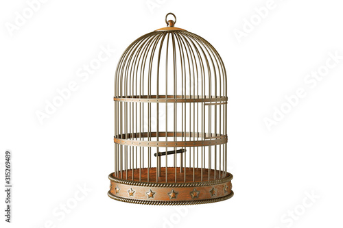 Fotografie, Obraz Vintage style metal bird cage isolated on white background