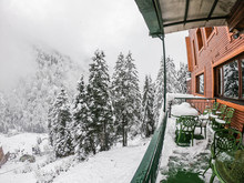 Green Table And Chair At Hotel Terrace With Snow Fall On Pine Tree In Ayder