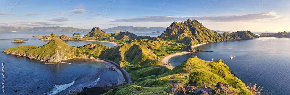 Fototapeta Landscape view from the top of Padar island in Komodo islands, Flores, Indonesia.