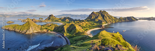Fototapeta Landscape view from the top of Padar island in Komodo islands, Flores, Indonesia