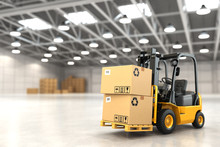 Forklift Truck In Warehouse Or...