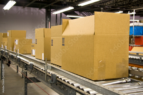 Photo Boxes on a Conveyor Belt