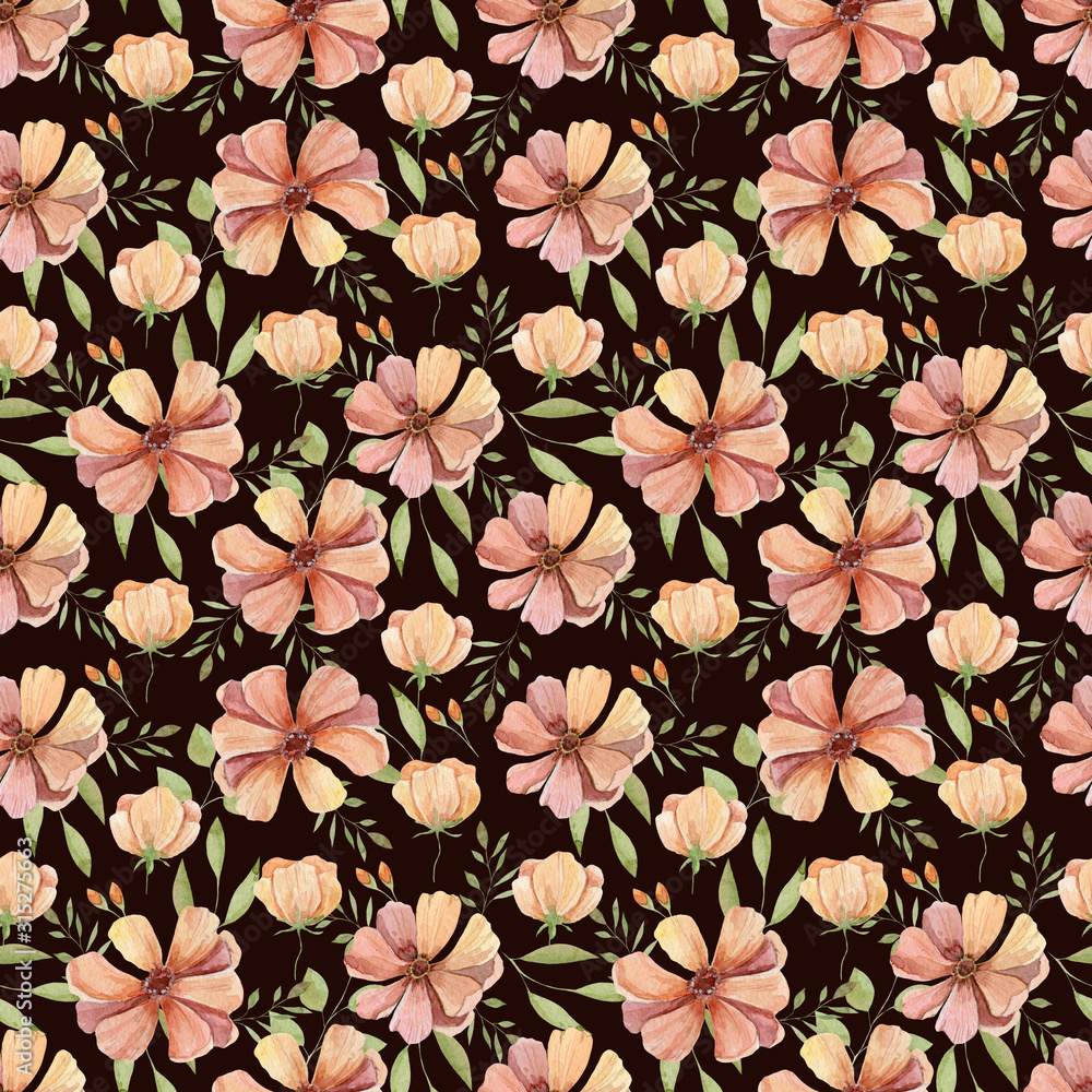 Peach flower green leaves Watercolor illustration seamless pattern on brown background
