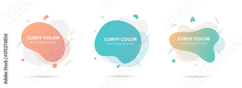 Fototapeta 3 Modern liquid abstract element graphic gradient flat style design fluid pastel colors vector illustration set banner simple shape template for presentation, flyer, isolated on white background. obraz