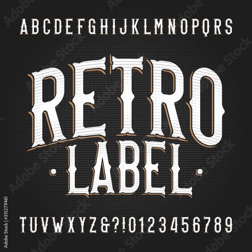 Retro Label alphabet font Tableau sur Toile