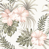 Tropical vintage hibiscus flower, palm leaves floral seamless pattern ivory background. Exotic jungle wallpaper. - 315280491