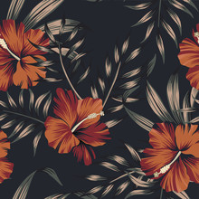 Tropical Vintage Floral Palm Leaves Red Hibiscus Flower Seamless Pattern Black Background. Exotic Jungle Wallpaper.
