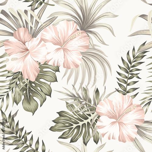 tropikalny-kwiat-hibiskusa-vintage-palm-pozostawia-kwiatowy-wzor-kosci-sloniowej-tlo-tapeta-egzotycznej-dzungli