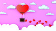 canvas print picture - large heart-shaped balloon gives many small hearts. Happy Valentine's Day