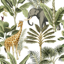 Tropical Vintage Elephant, Giraffe Wild Animals, Palm Tree And Plant Floral Seamless Pattern White Background. Exotic Jungle Safari Wallpaper.
