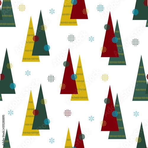 bezszwowy-boze-narodzenie-wzor-z-kolorowa-sosna-od-geometrycznego-z-platkiem-sniegu-na-bielu-wzoru-tle
