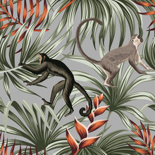 Tropical Vintage Monkey, Red Exotic Flower, Palm Leaves Floral Seamless Pattern Grey Background. Exotic Jungle Wallpaper.