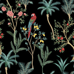 Panel Szklany Drzewa Vintage garden lemon fruit tree, rose tree, plant, macaw parrot floral seamless pattern black background. Exotic chinoiserie wallpaper.