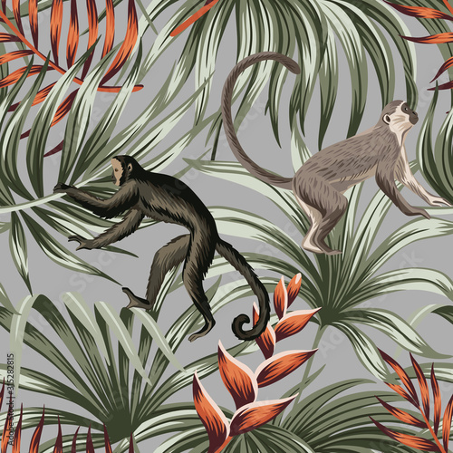 Tropical vintage monkey, red exotic flower, palm leaves floral seamless pattern grey background Fototapet