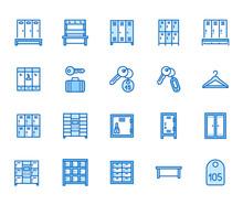 Locker Room Flat Line Icons Se...